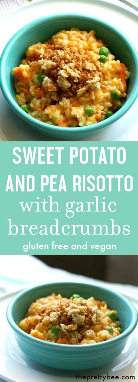 Creamy and delicious sweet potato risotto is a hearty fall dish that's gluten free and vegan.