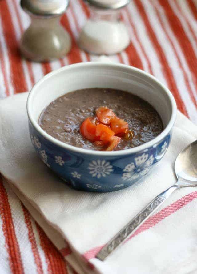 Vegan and gluten free three ingredient black bean soup