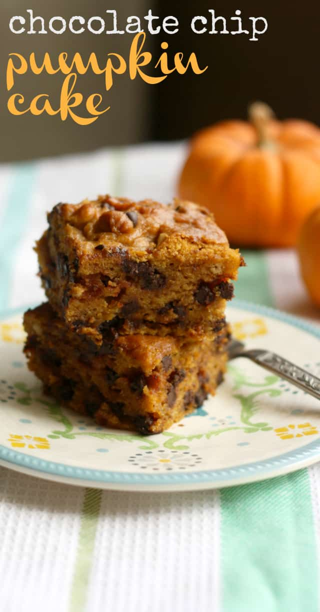 Delicious, moist chocolate chip pumpkin cake. A fall recipe that will be a real crowd pleaser! #pumpkin #cake #fall
