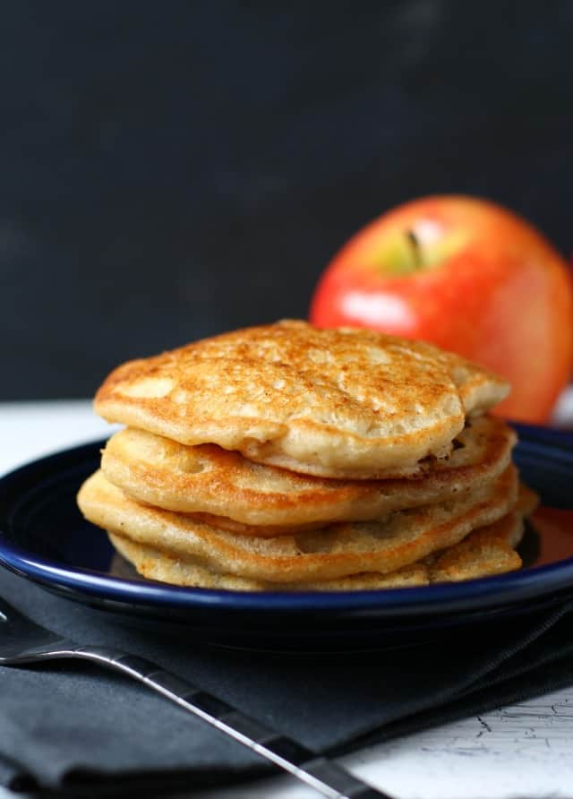 stack of apple cinnamon pancakes