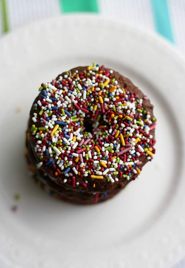 dairy free chocolate donuts with sprinkles