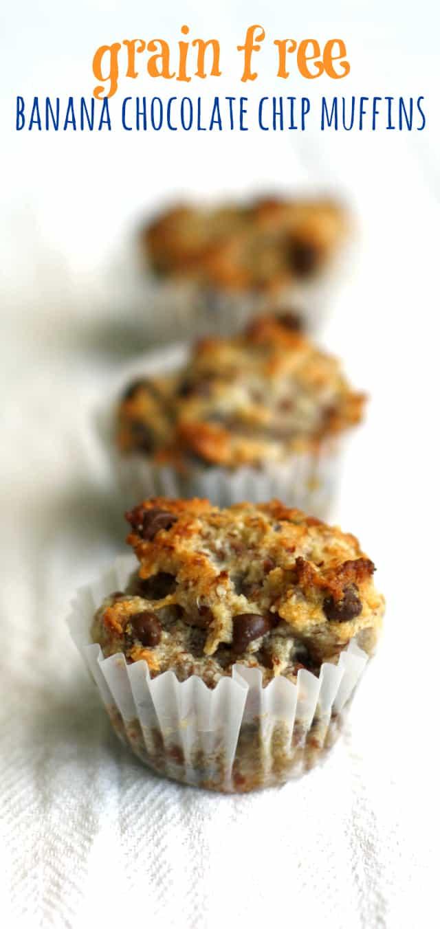 Grain free banana chocolate chip mini muffins - easy and tasty! #grainfree
