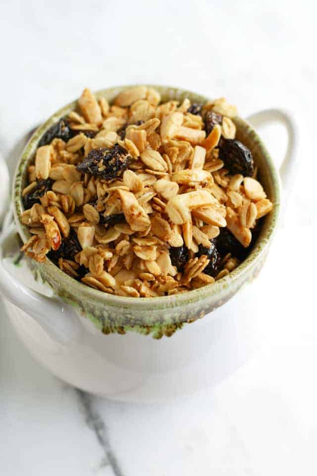 Gluten free and vegan cherry almond granola recipe.