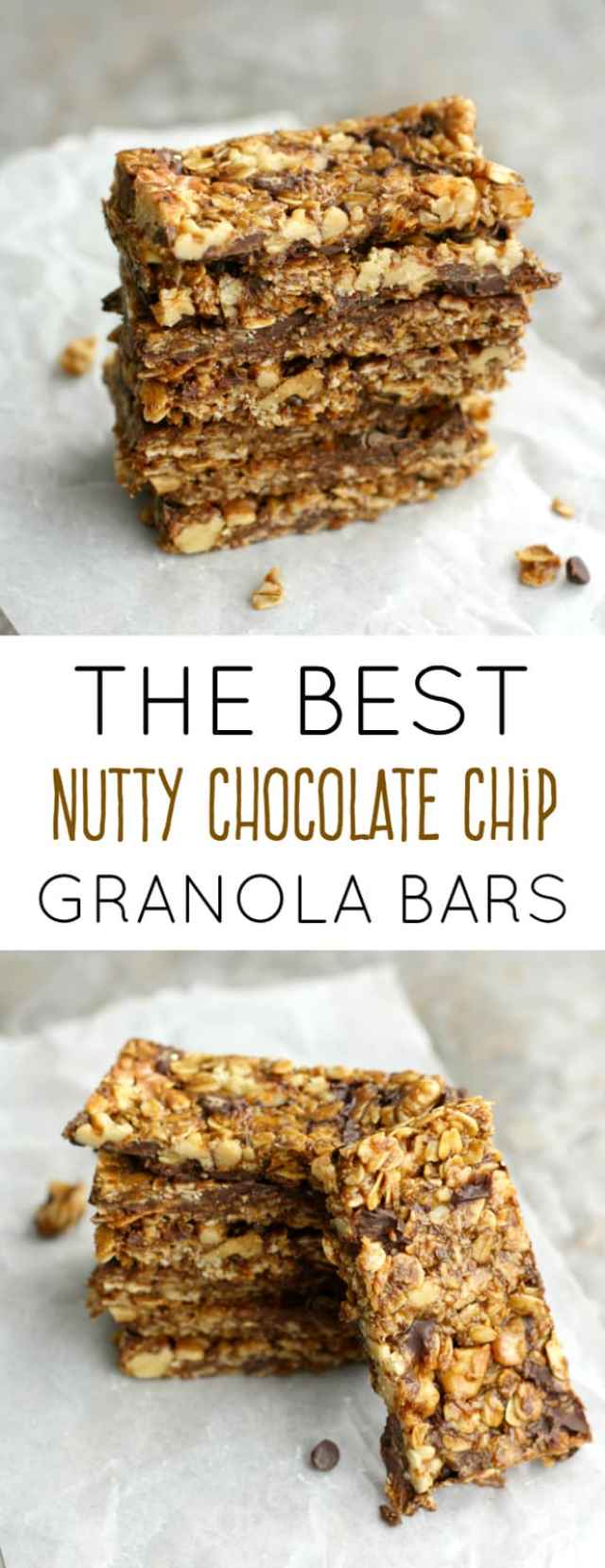 These nutty chocolate chip granola bars are SO good, you'll never want a store bought granola bar again!