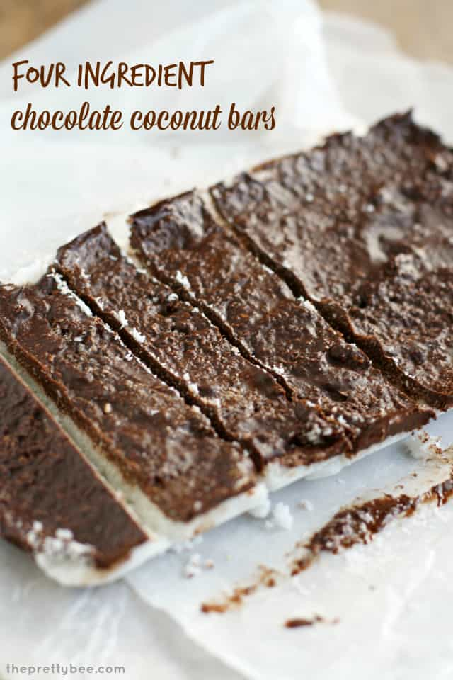 Super easy chocolate coconut bars - just four ingredients! #vegan #glutenfree