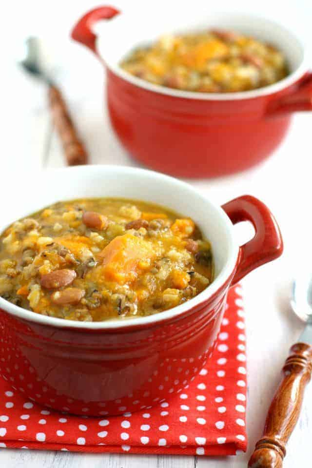 This sweet potato and wild rice soup is tasty, hearty, and healthy! Easy to throw in the crock pot, and everyone LOVES it!