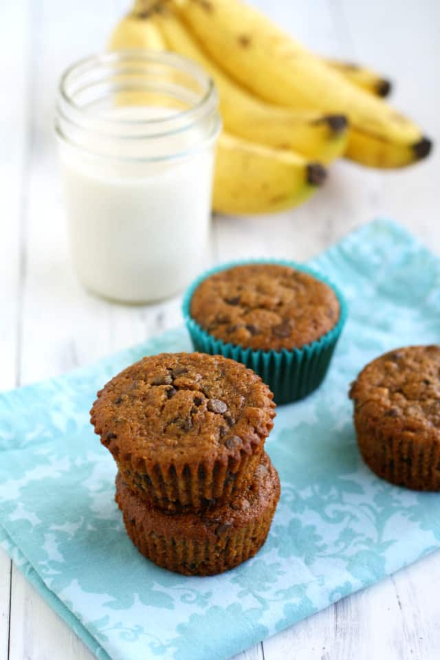 Delicious and moist banana chocolate chip muffins made with almond meal and oat flour. Vegan and gluten free recipe.