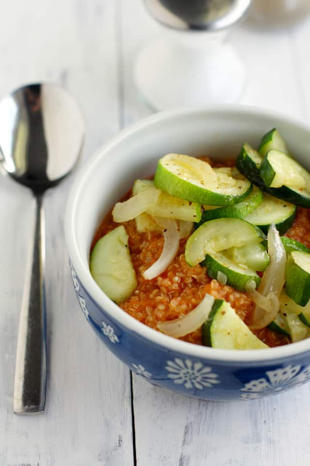 The easiest lunch ever: tomato quinoa with sauteed veggies. Tasty and healthy! #glutenfree #vegan #vegetarian