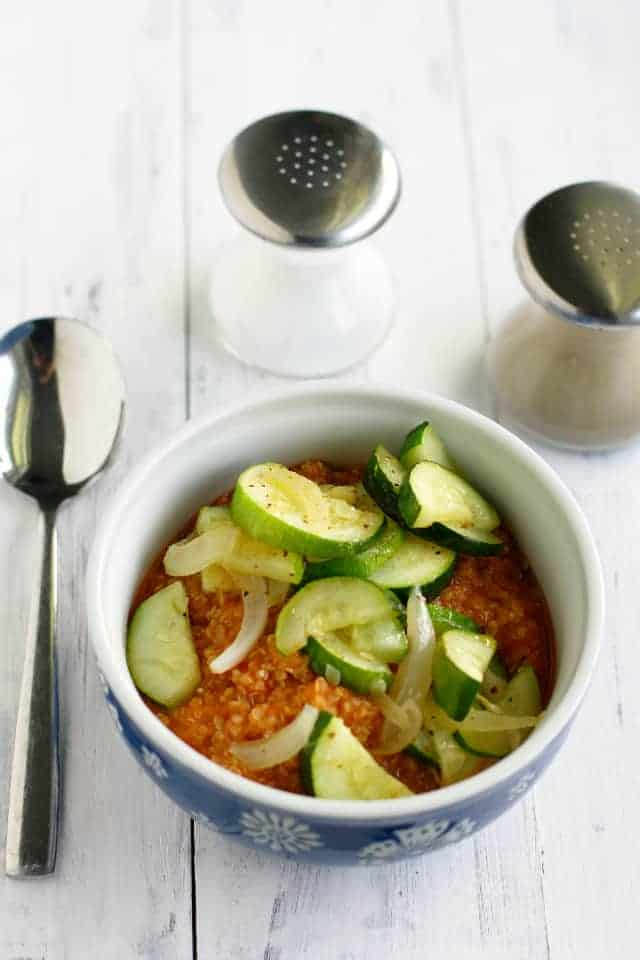 Creamy tomato quinoa with sauteed zucchini and onions. A healthy and tasty gluten free lunch! #write31days #glutenfree