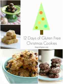 12 Gluten Free Cookie Recipes, including chocolate crinkleds, shortbread, oatmeal crispies, chocolate covered pretzels, and more! #glutenfree #christmascookies