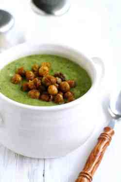 Creamy broccoli soup topped with roasted chickpeas - the perfect combination! Vegan and gluten free.