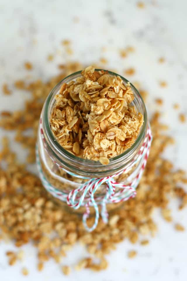 This gluten free coconut granola is so easy to make, and so delicious! Makes a great holiday gift!