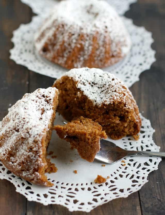 dairy free gingerbread mini bundt cakes