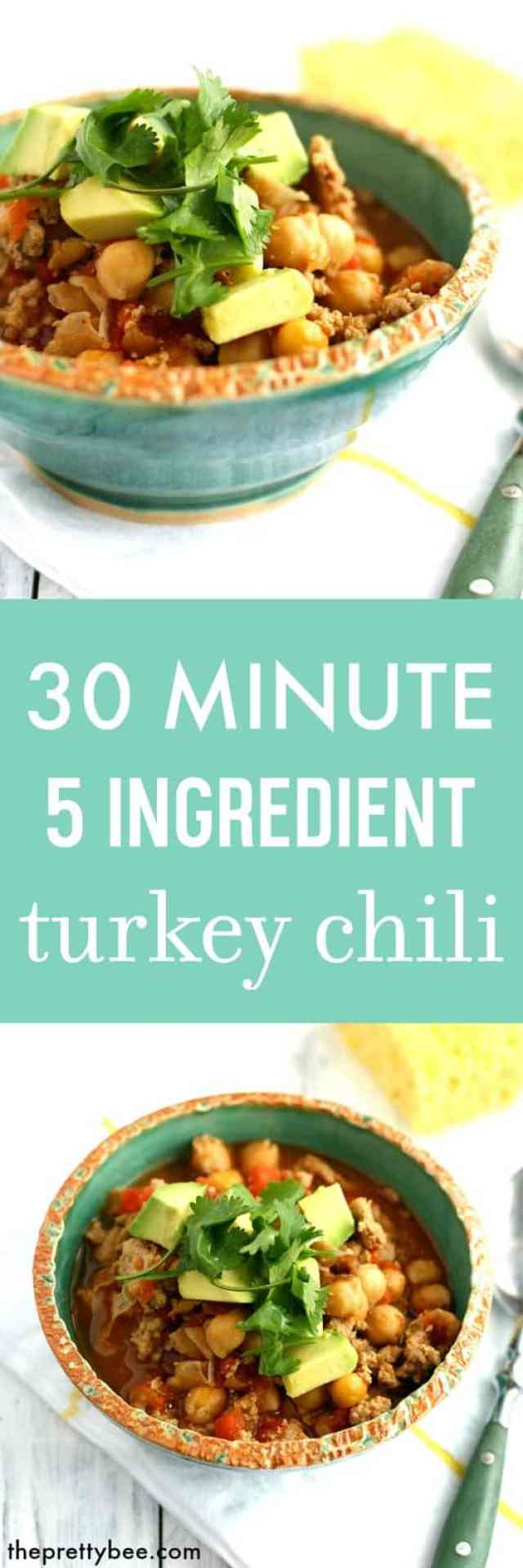 EASY turkey chili - just 5 ingredients and 30 minutes to make this family meal!