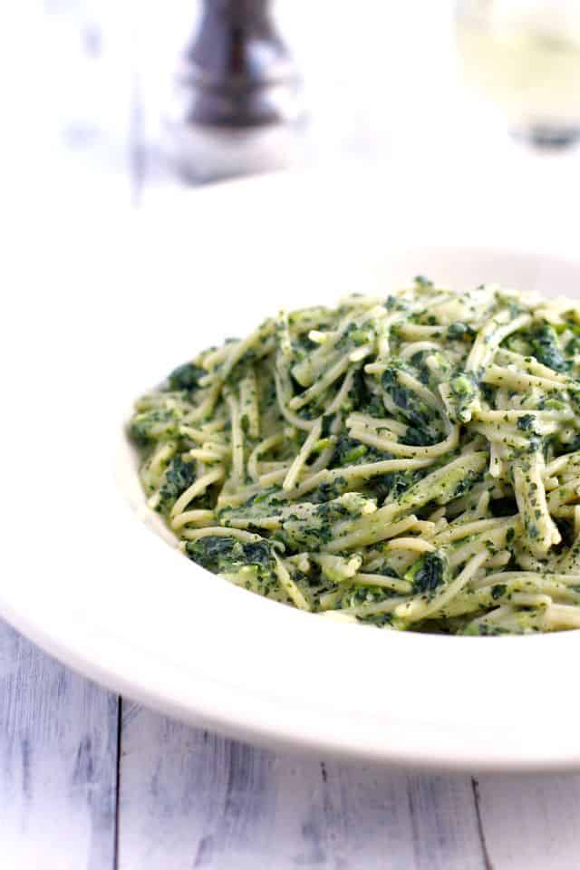 Gluten free pasta with creamy dairy free kale sauce - everyone loves this dish! A great way to eat more #kale! #glutenfree #vegan