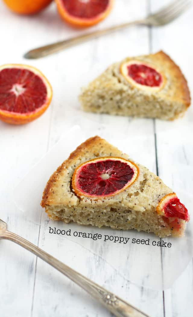 This delicious blood orange poppy seed cake is so pretty with ruby red orange slices on top!