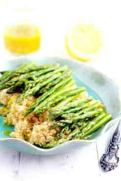 Roasted asparagus and quinoa salad with a tangy lemon mustard vinaigrette - perfect for a quick side dish!