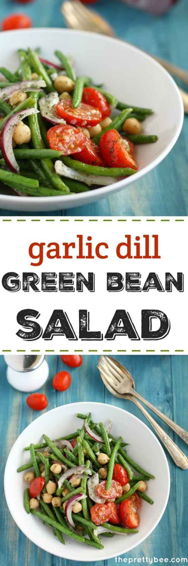 Garlic dill green bean salad is a delicious summer dish! Full of flavor and color!
