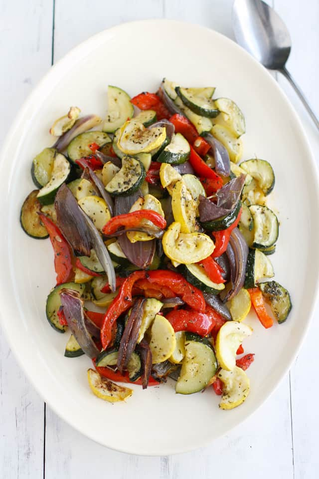 Roasted mixed summer vegetables. Easy to make and a healthy dish!