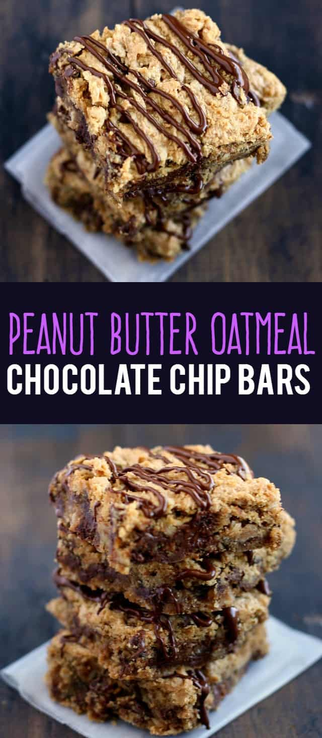 Peanut Butter Oatmeal Chocolate Chip Bars. - The Pretty Bee