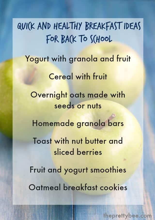 Healthy breakfast ideas for busy back to school mornings. #backtoschool
