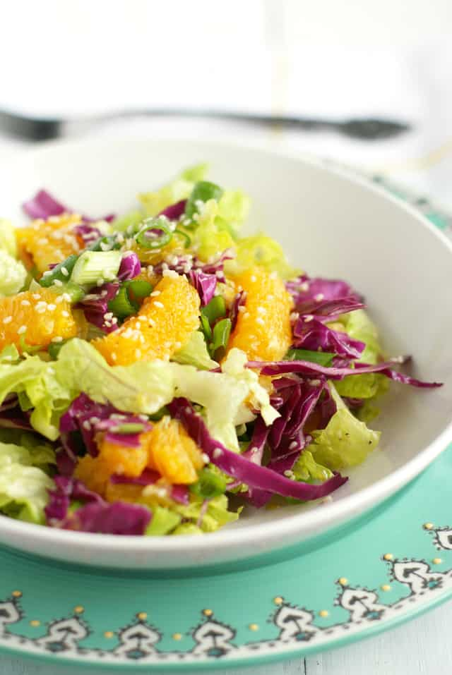 Simple and refreshing orange sesame romaine salad. Colorful and full of flavor!