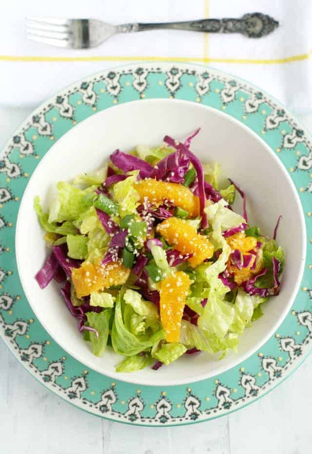 Orange romaine salad with sweet sesame dressing is refreshing for the summer!