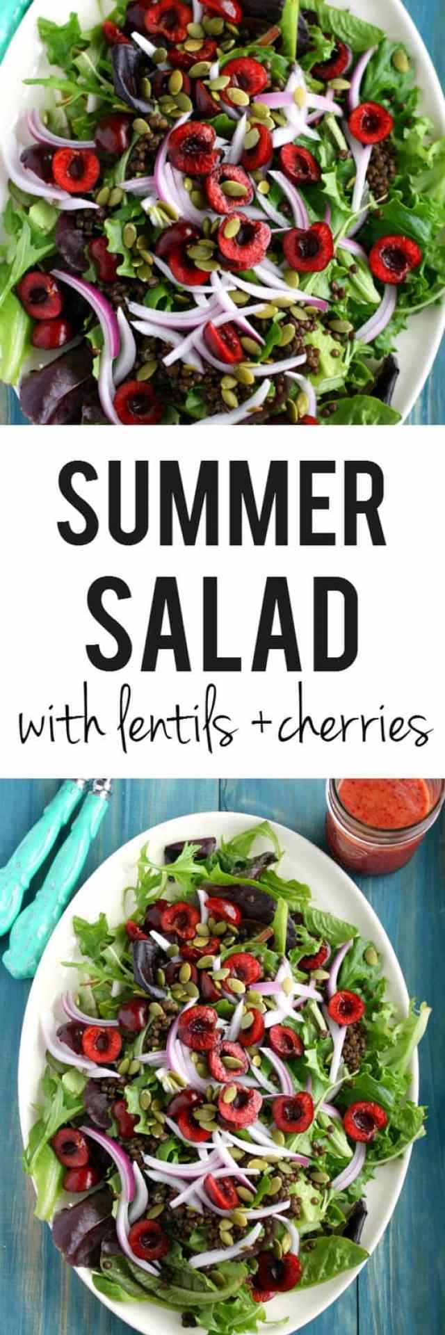 The perfect way to enjoy summer cherries! On top of a bed of greens, with lentils, pepitas, and cherry vinaigrette.