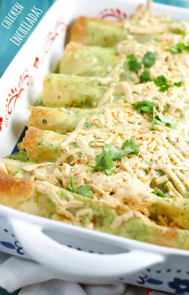 Dairy free chicken enchilada recipe from Allergy Free and Delicious.