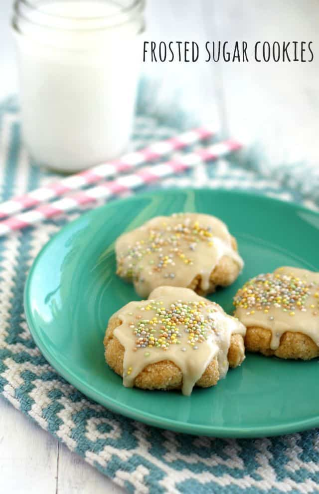 Frosted allergy friendly sugar cookie recipe from Allergy Free and Delicious by Kelly Roenicke.