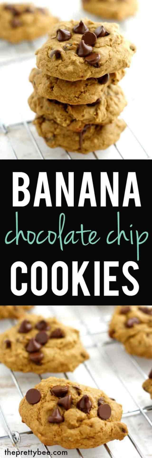 Chocolate Chip Banana Cookies (GF + Vegan). - The Pretty Bee
