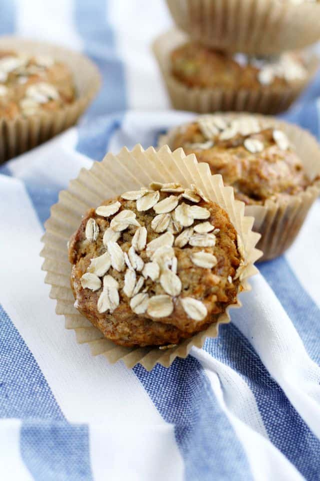 Gluten free and vegan banana oat muffins - a wholesome recipe that's perfect for an afterschool snack!