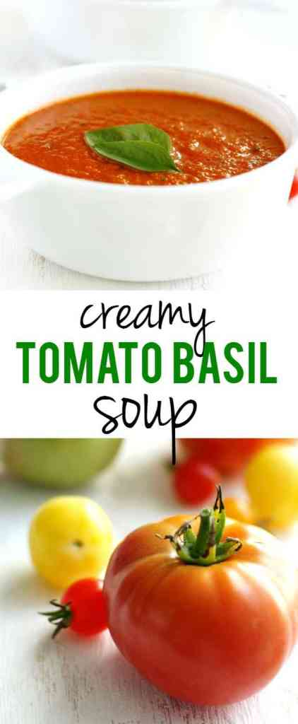 Creamy and delicious tomato basil soup recipe - this is easy and healthy comfort food! Tastes better than the restaurant version.