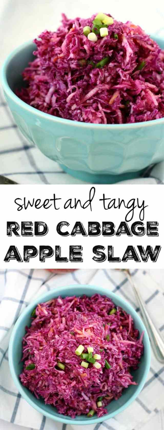 Sweet, tangy, crunchy, healthy, tasty red cabbage slaw! This is SUCH an EASY side dish and everyone loves it. Gluten free and vegan recipe.