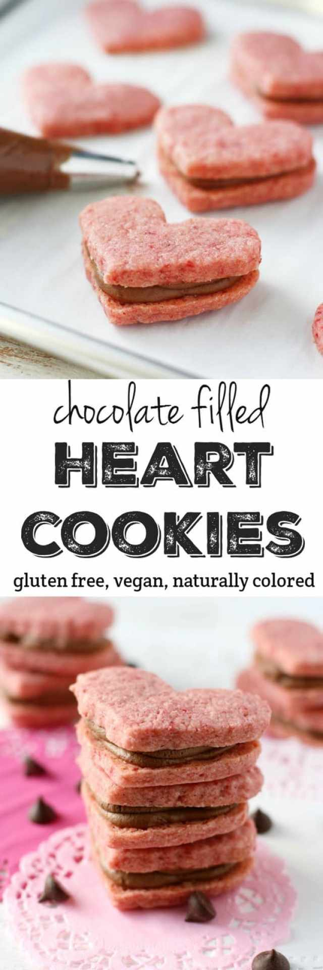 Naturally pink gluten free sugar cookies are filled with a rich chocolate creme. These heart shaped cookies are just right for Valentine's Day! #glutenfree ad #vegan #top8free