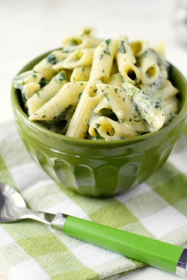 Pasta with a cheesy spinach sauce is a family favorite! Easy comfort food.