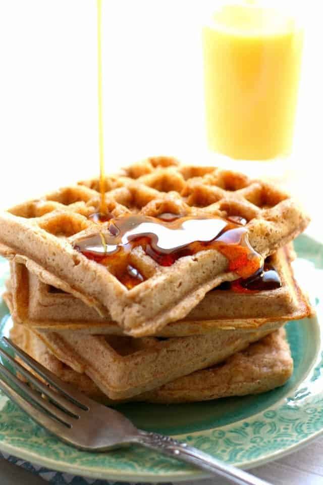Deliciously light and fluffy egg free vegan waffles! A perfect weekend breakfast.