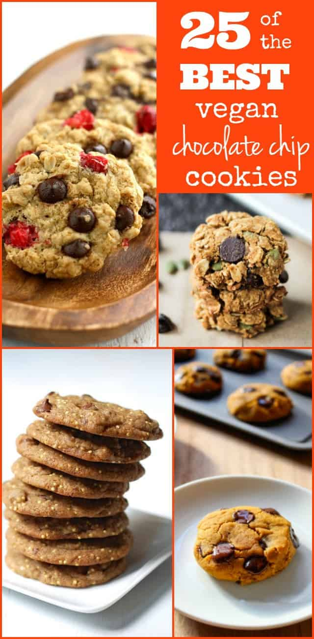 25 of the best vegan chocolate chip cookie recipes! A wide variety of delicious vegan recipes here - be sure to pin for later!