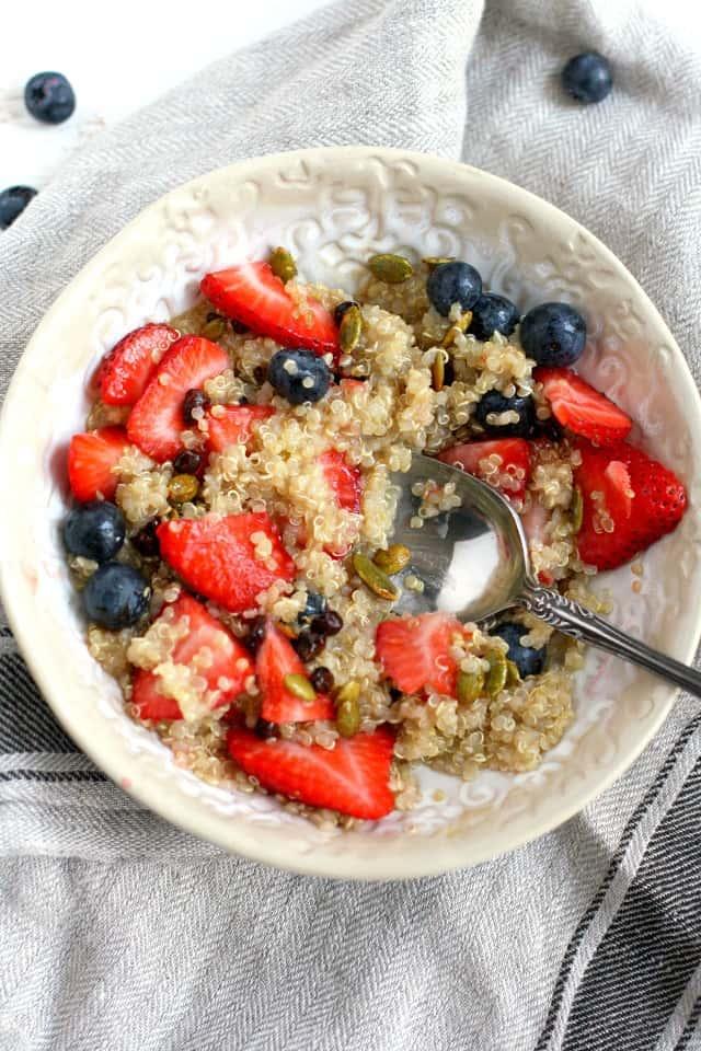 Vegan and gluten free breakfast quinoa porridge is a healthy way to start your day!