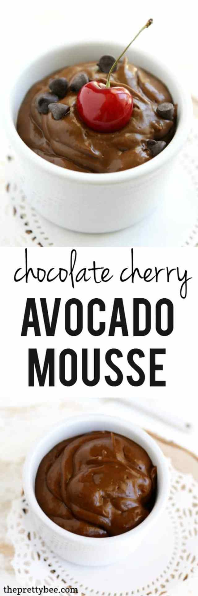 Creamy, rich, and delicious, this cherry chocolate avocado mousse is a healthy dessert recipe!