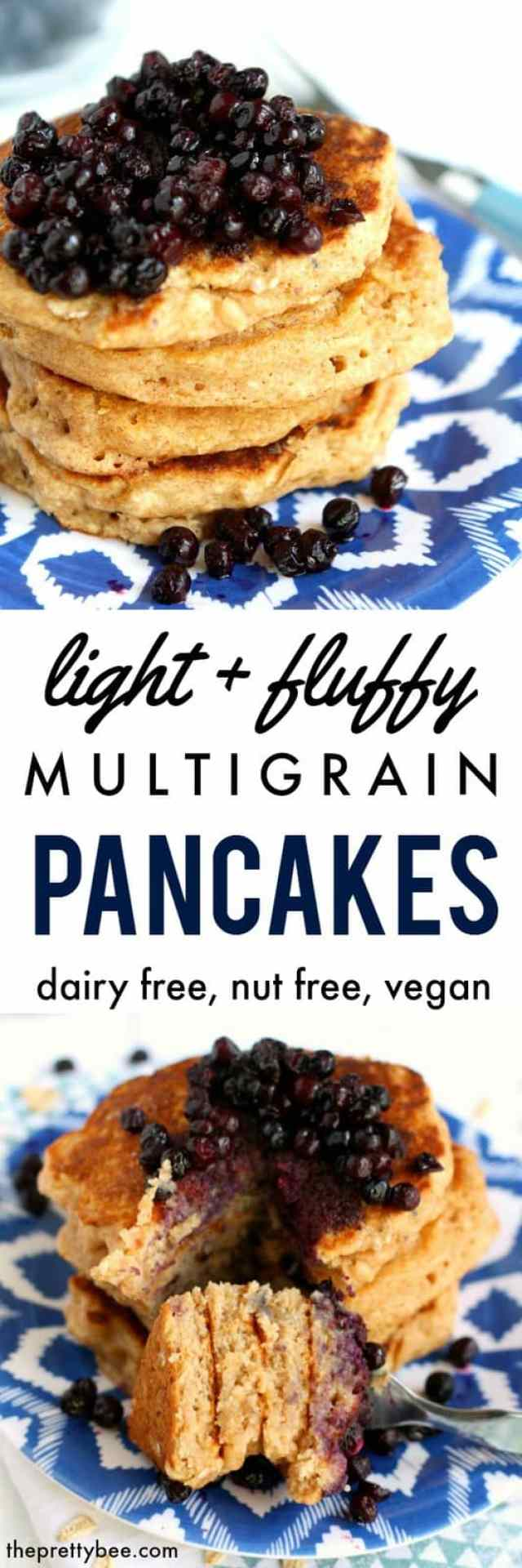 Light and fluffy vegan multigrain pancakes are a wonderful way to start your day! Top with a warm blueberry sauce for breakfast perfection!