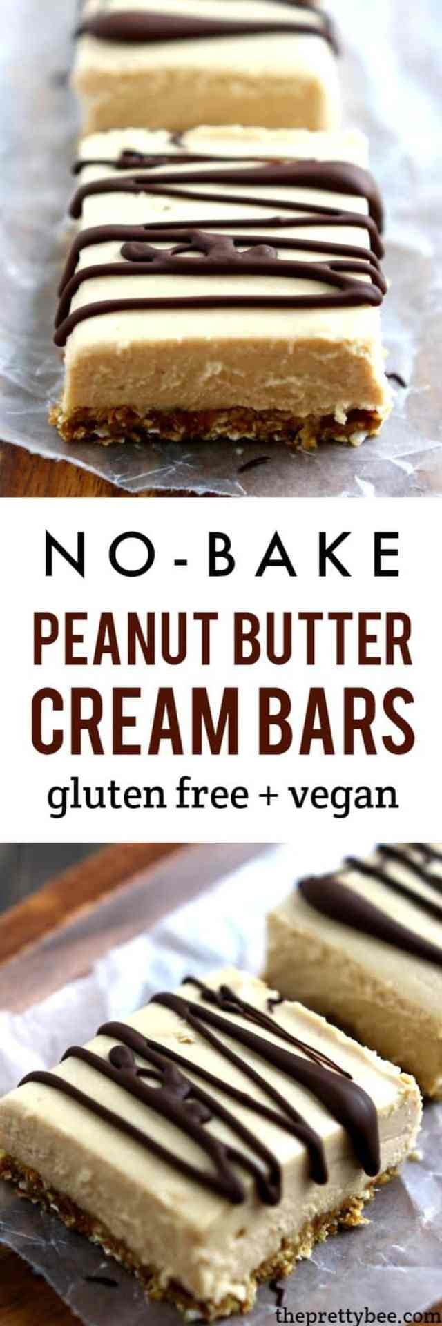 Light and delicious no-bake peanut butter cream bars are a wonderfully decadent dessert!