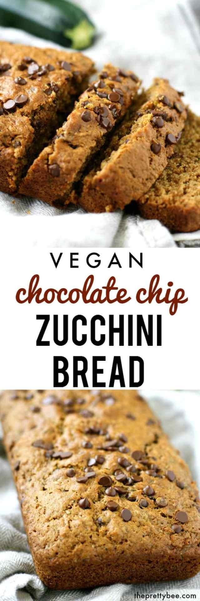 Vegan Chocolate Chip Zucchini Bread. - The Pretty Bee
