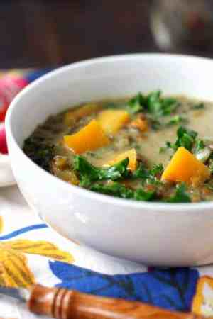 A hearty and delicious curried lentil butternut squash soup is a great meal for chilly nights!