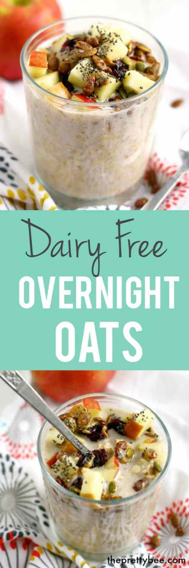 Dairy free overnight oatmeal is topped with pumpkin seeds, cranberries, apple and more to make a tasty breakfast!