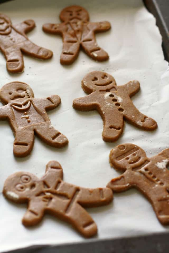 gingerbread men on a cookie sheet