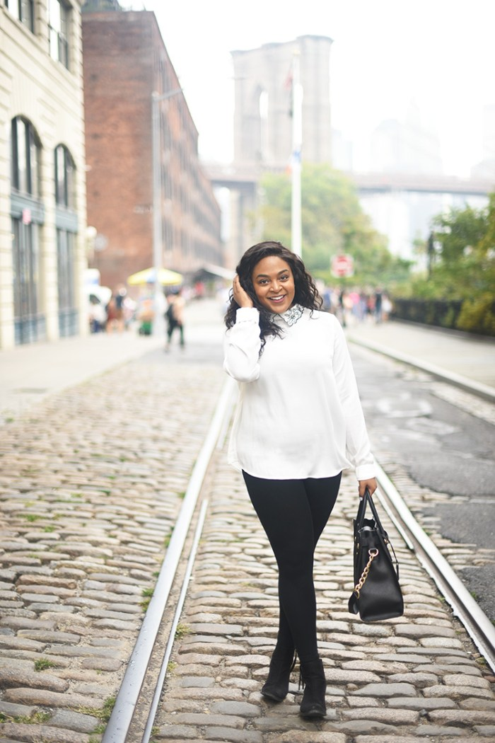 embellished collar, black and white, DUMBO, brooklyn, nyc blog, nyc blogger, collared shirt, how to wear, michael kore purse, affordable fashion