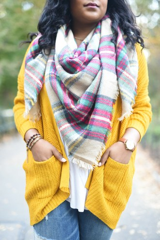 thanksgiving outfit ideas, thanksgiving outfit inspiration, fall fashion, fall style, blanket scarf, affordable fashion, affordable style, how to layer, chunky sweater, mustard sweater