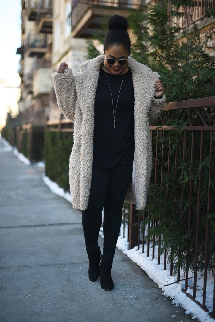 sherpa coat, teddy coat, how to style a teddy coat, winter neutrals, black girl blogger, nyc blogger, nyc fashion blogger, black fashion blogger, winter ootd, winter outfit inspo, how to get what you want, get what you want, how to hustle, tips to achieve your goals