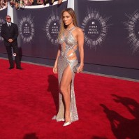 J Lo giving bling and glamwearing her gown on the VMA's Red Carpet